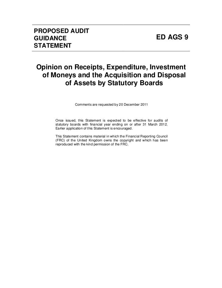 PROPOSED AUDITGUIDANCE                                                              ED AGS 9STATEMENTOpinion on Receipts, ...