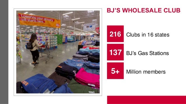 BJ'S WHOLESALE CLUB 216 Clubs in 16 states 137 BJ's Gas Stations 5+ Million members