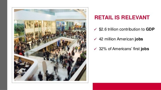 RETAIL IS RELEVANT $2.6 trillion contribution to GDP 42 million American jobs 32% of Americans' first jobs