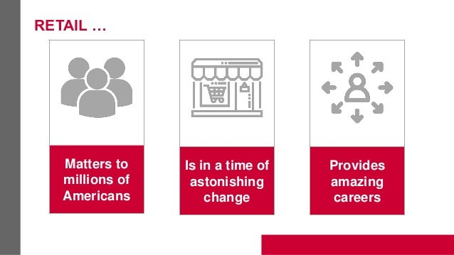 RETAIL … Matters to millions of Americans Is in a time of astonishing change Provides amazing careers