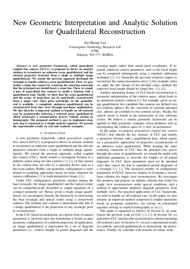 New Geometric Interpretation and Analytic Solution for Quadrilateral Reconstruction Joo-Haeng Lee Convergence Technology R...