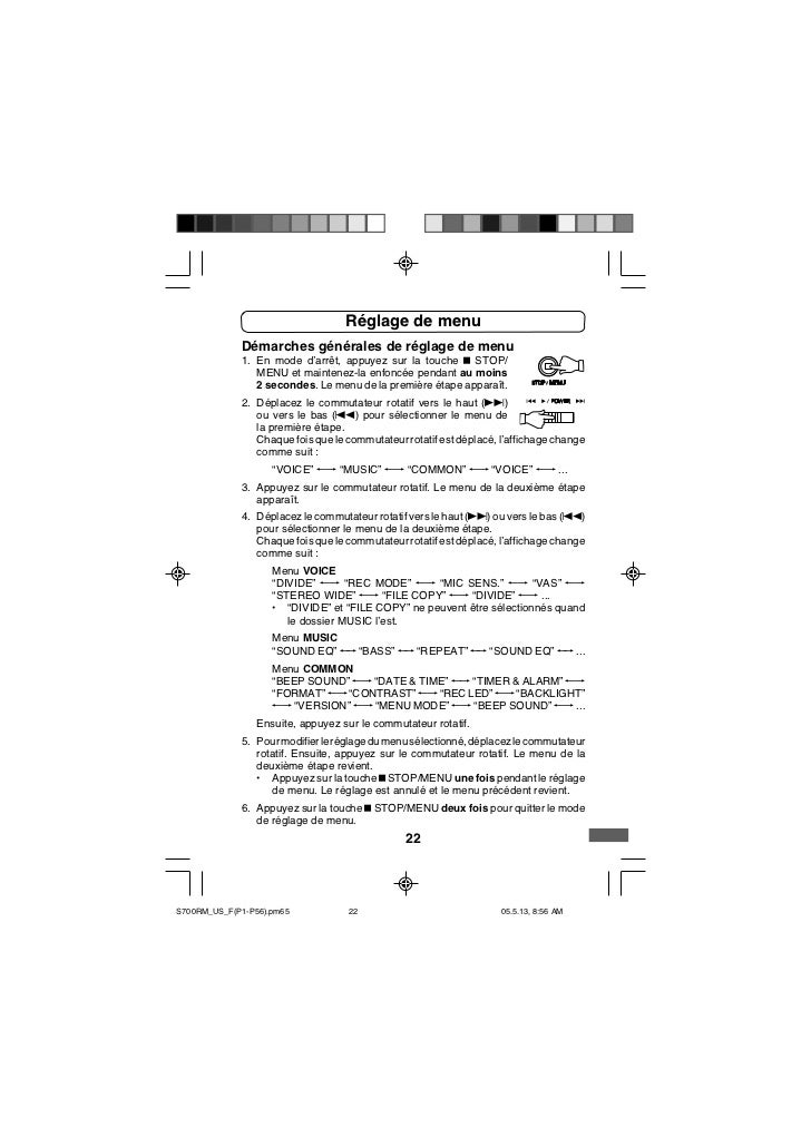 Réglage de menu             Démarches générales de réglage de menu             1. En mode d'arrêt, appuyez sur la touche n...