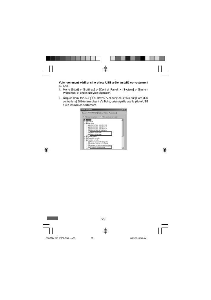 Voici comment vérifier si le pilote USB a été installé correctement          ou non          1. Menu [Start] > [Settings] ...
