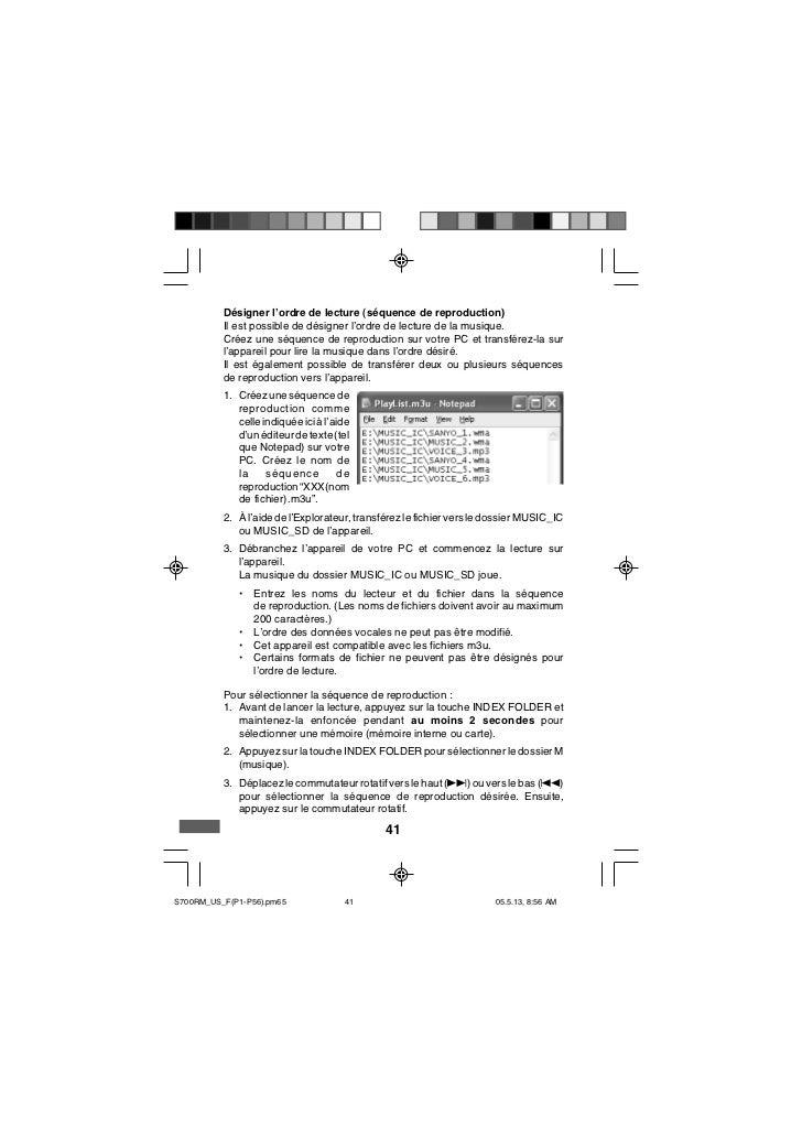 Désigner l'ordre de lecture (séquence de reproduction)          Il est possible de désigner l'ordre de lecture de la musiq...