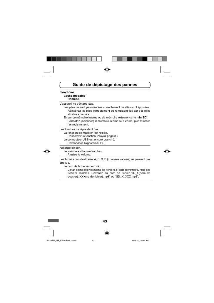 Guide de dépistage des pannes          Symptôme            Cause probable              Remède          L'appareil ne démar...