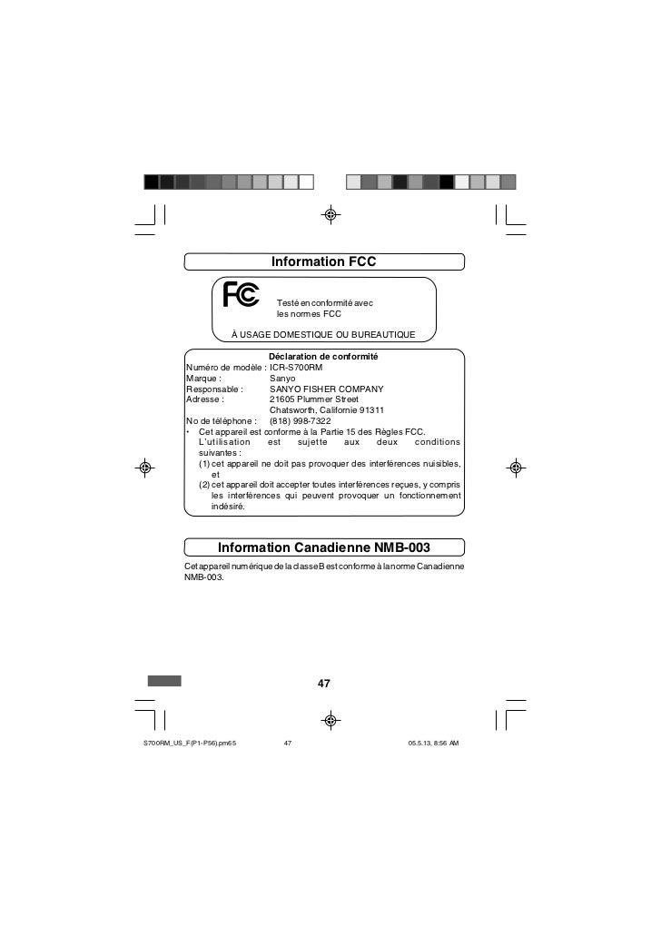 Information FCC                                  Testé en conformité avec                                  les normes FCC ...