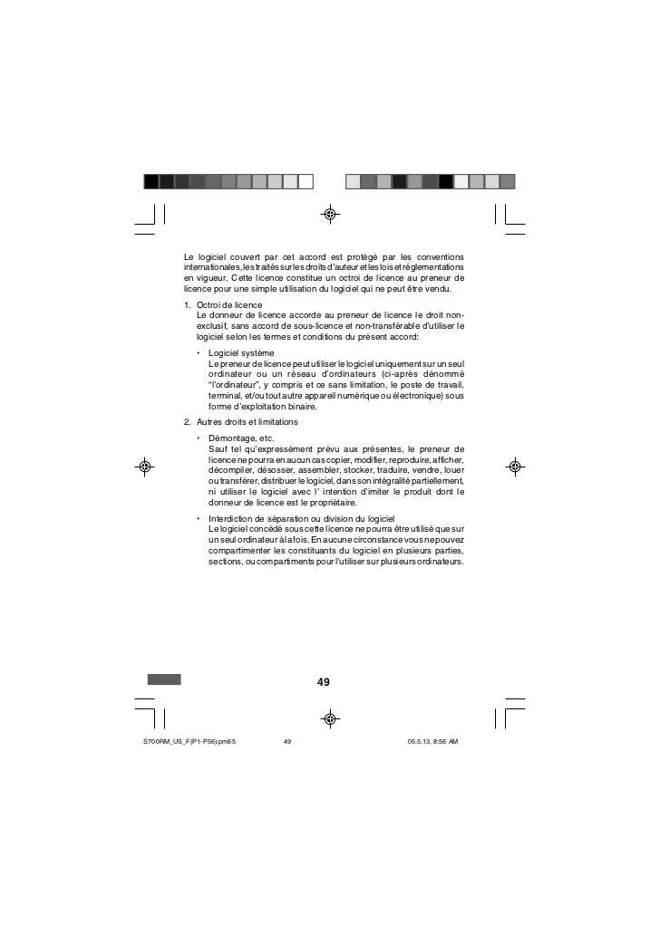 Le logiciel couvert par cet accord est protégé par les conventions          internationales, les traités sur les droits d'...