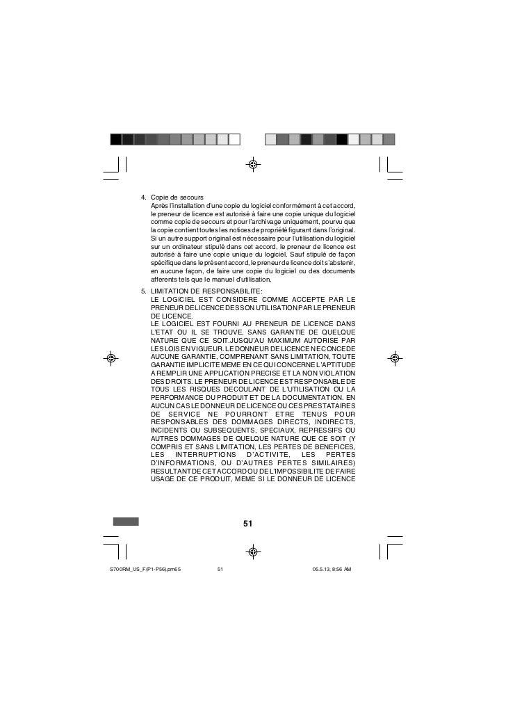 4. Copie de secours             Après l'installation d'une copie du logiciel conformément à cet accord,             le pre...