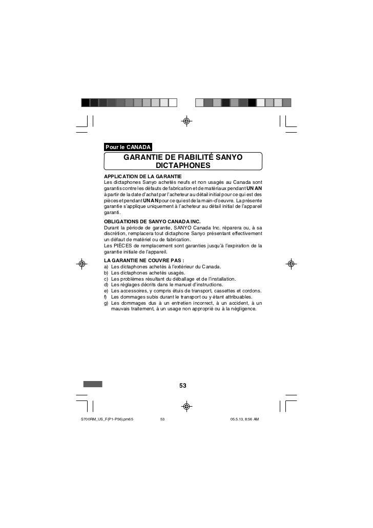 Pour le CANADA                    GARANTIE DE FIABILITÉ SANYO                          DICTAPHONES          APPLICATION DE...