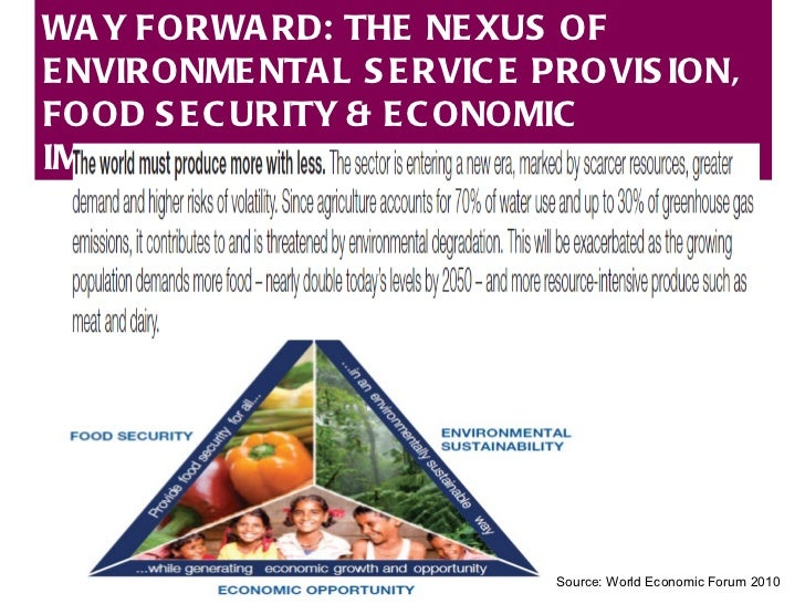 Source: World Economic Forum 2010 WAY FORWARD: THE NEXUS OF ENVIRONMENTAL SERVICE PROVISION, FOOD SECURITY & ECONOMIC IMPR...