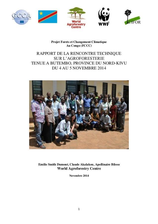 1 Projet Forets et Changement Climatique Au Congo (FCCC) RAPPORT DE LA RENCONTRE TECHNIQUE SUR L'AGROFORESTERIE TENUE A BU...