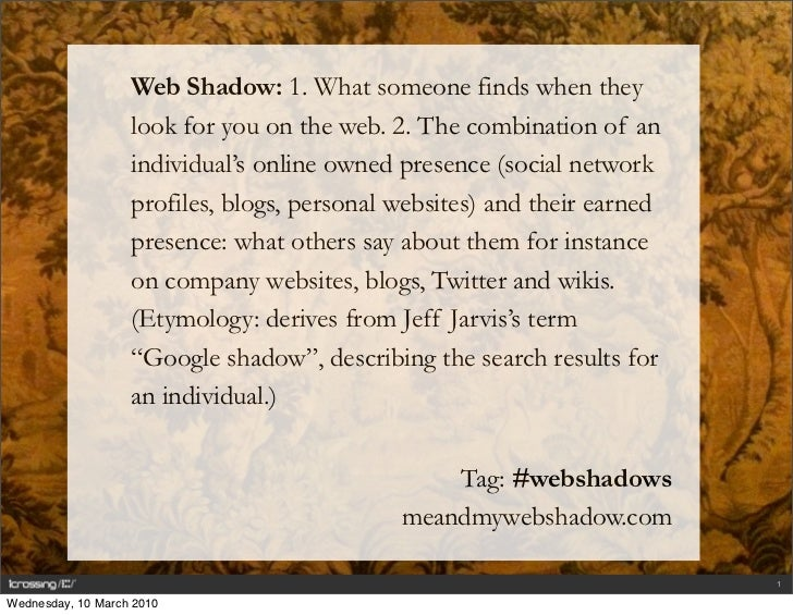 Web Shadow: 1. What someone finds when they                    look for you on the web. 2. The combination of an          ...