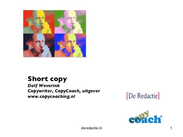 deredactie.nl Short copy Dolf Weverink Copywriter, CopyCoach, uitgever www.copycoaching.nl