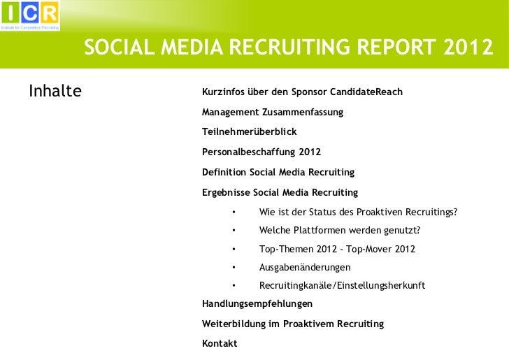 ICR Social Media Recruiting Report 2012 Slide 2