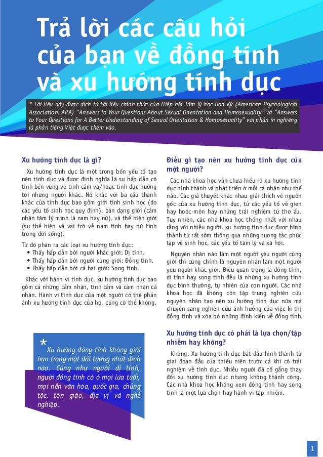 Trả lời các câu hỏi     của bạn về đồng tính     và xu hướng tính dục  * Tài liệu này được dịch từ tài liệu chính thức của...