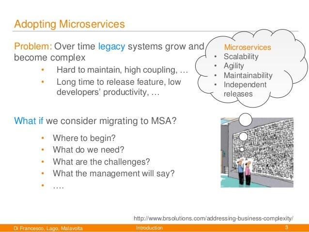 Migrating towards Microservice Architectures: an Industrial Survey  Slide 3