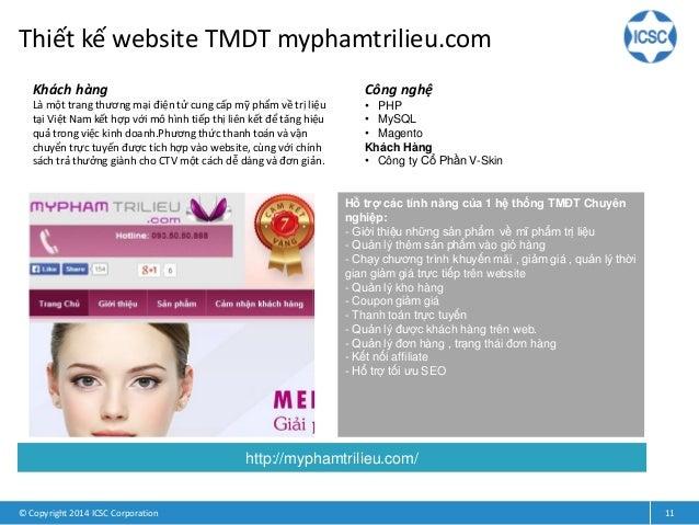 Thiết kế website TMDT myphamtrilieu.com © Copyright 2014 ICSC Corporation 11 Khách hàng Là một trang thương mại điện tử cu...