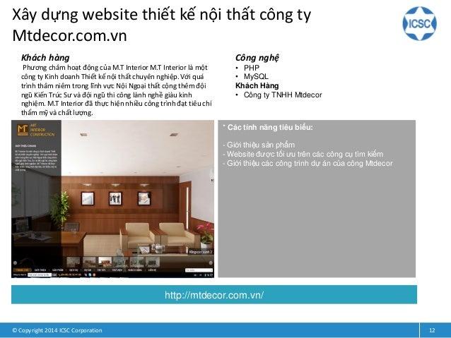 Xây dựng website thiết kế nội thất công ty Mtdecor.com.vn © Copyright 2014 ICSC Corporation 12 Khách hàng Phương châm hoạt...