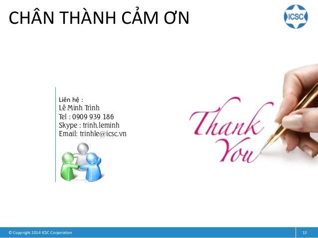 © Copyright 2014 ICSC Corporation 13 CHÂN THÀNH CẢM ƠN Liên hệ : Lê Minh Trình Tel : 0909 939 186 Skype : trinh.leminh Ema...