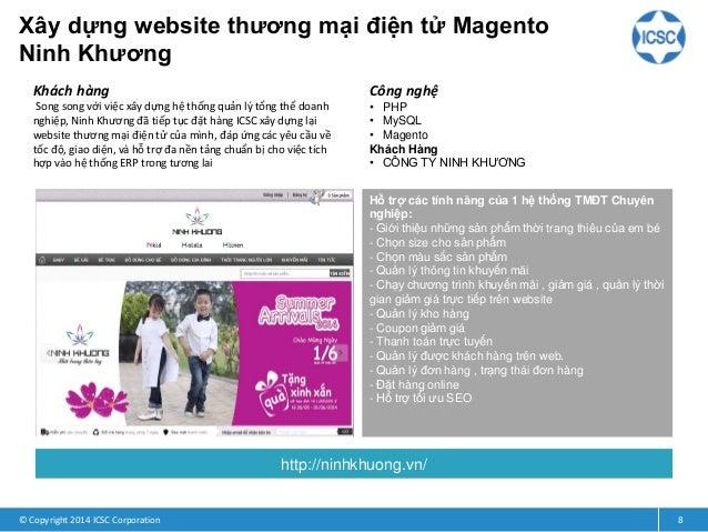 Xây dựng website thương mại điện tử Magento Ninh Khương © Copyright 2014 ICSC Corporation 8 Khách hàng Song song với việc ...