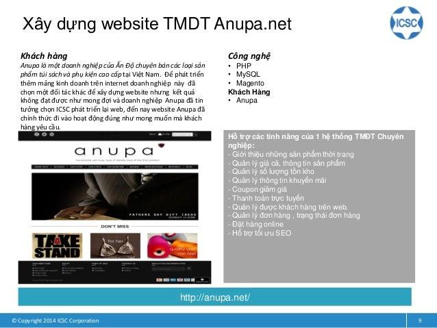 Xây dựng website TMDT Anupa.net © Copyright 2014 ICSC Corporation 9 Khách hàng Anupa là một doanh nghiệp của Ấn Độ chuyên ...