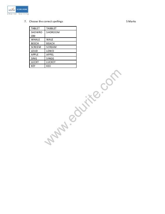 Class 1 ICSE English Sample Paper Term 2