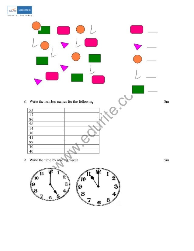 Class 1 ICSE Maths Sample Paper Model 1