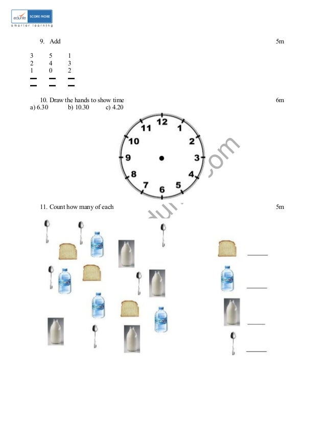 Class 1 ICSE Maths Sample Paper Model 2
