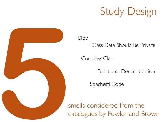 5smells considered from the catalogues by Fowler and Brown Blob Class Data Should Be Private Complex Class Functional Deco...