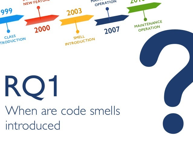 ?When are code smells introduced RQ1 1999 2000 2003 2007 2010 CLASS NTRODUCTION IM NEW FEATURE SMELL INTRODUCTION MAIN OPE...