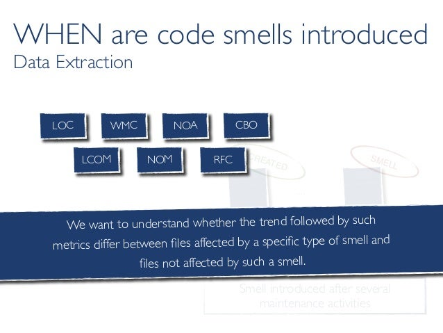 Smell introduced after several maintenance activities c c … c c… … Class C CREATED Class C SMELL LOC WMC NOA CBO RFCLCOM N...