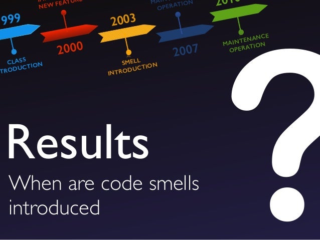 ?When are code smells introduced Results 1999 2000 2003 2007 2010 CLASS NTRODUCTION IM NEW FEATURE SMELL INTRODUCTION MAIN...