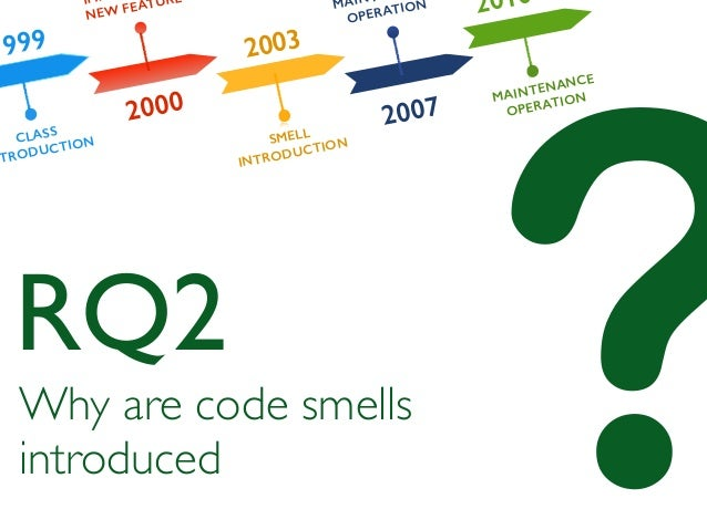 ?Why are code smells introduced RQ2 1999 2000 2003 2007 2010 CLASS NTRODUCTION IM NEW FEATURE SMELL INTRODUCTION MAIN OPER...