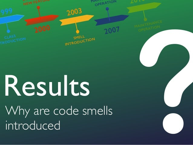 ?Why are code smells introduced Results 1999 2000 2003 2007 2010 CLASS NTRODUCTION IM NEW FEATURE SMELL INTRODUCTION MAIN ...