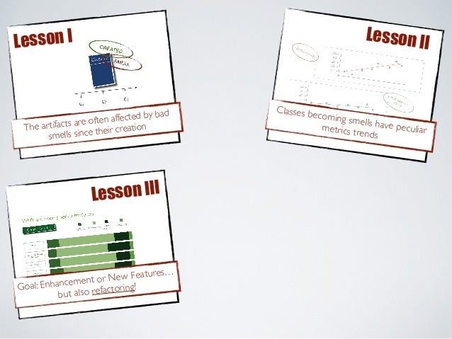 Lesson I Lesson II Goal: Enhancement or New Features… but also refactoring! Lesson III The artifacts are often affected by...