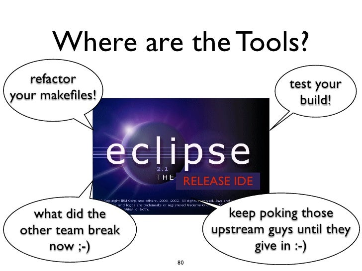 Where are the Tools?   refactor                           test youryour makefiles!                          build!         ...