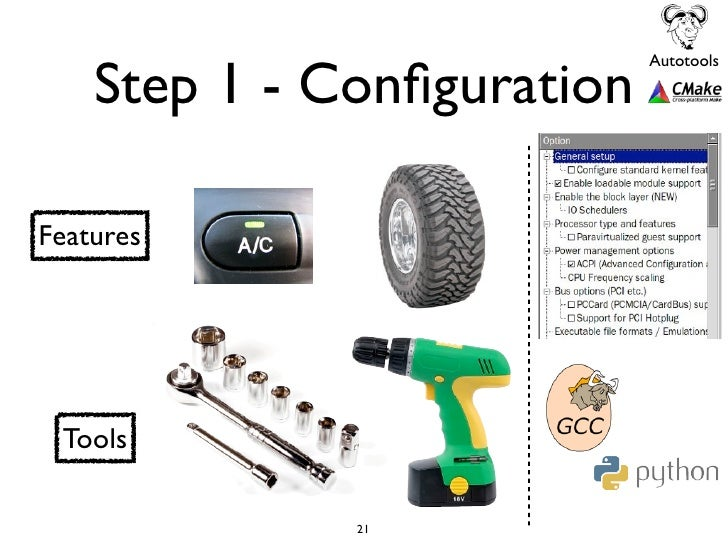 Step 1 - Configuration                            AutotoolsFeatures Tools              21