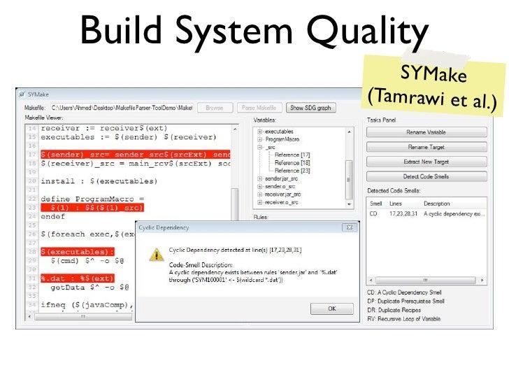 Build System Quality                    SYMake                (Tamrawi et al.)