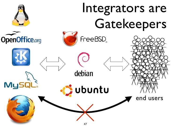 Integrators are  Gatekeepers         end users47