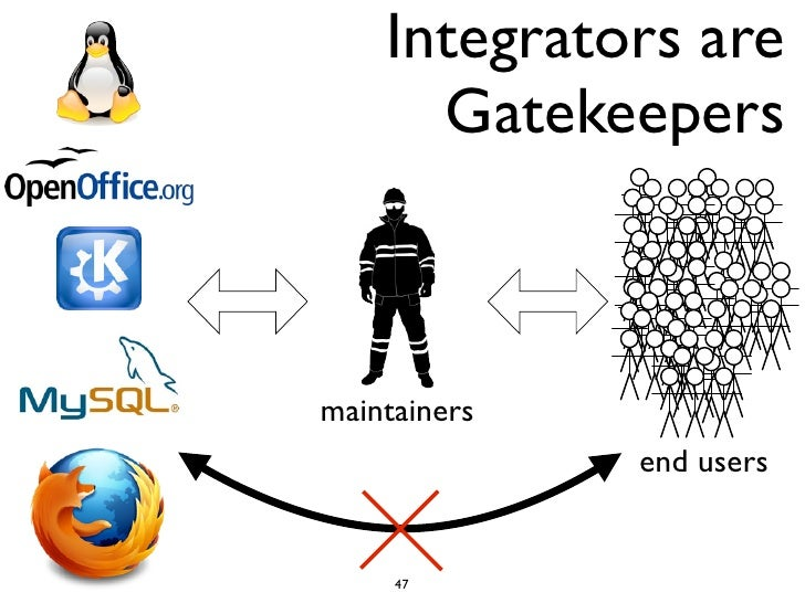 Integrators are      Gatekeepersmaintainers              end users     47