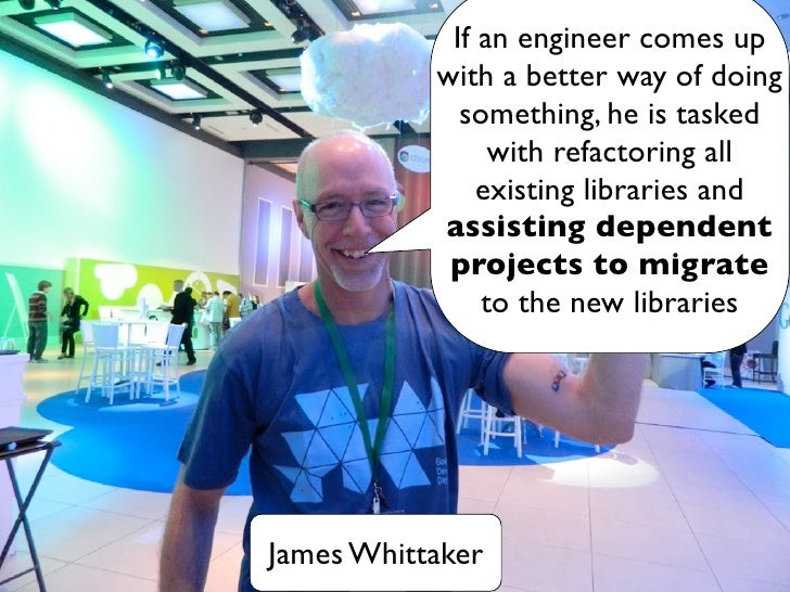 If an engineer comes up           with a better way of doing             something, he is tasked                with refac...