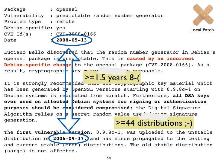 Package        :   opensslVulnerability :    predictable random number generatorProblem type   :   remoteDebian-specific: ...