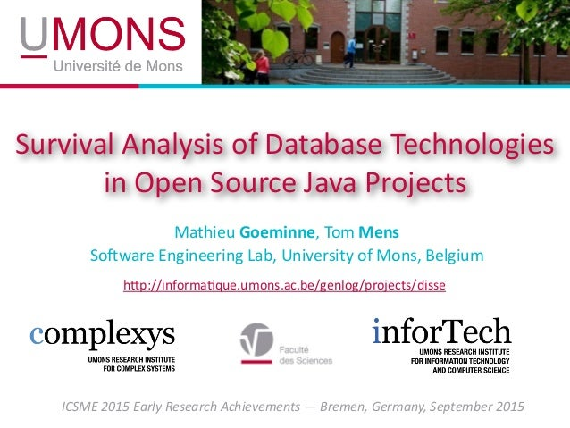 Survival analysis of database technologies in open source