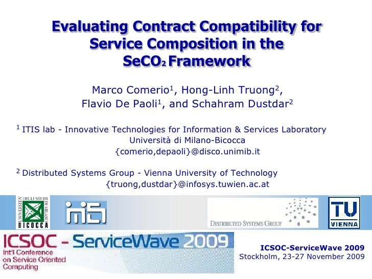 Evaluating Contract Compatibility for                Service Composition in the                    SeCO2 Framework        ...