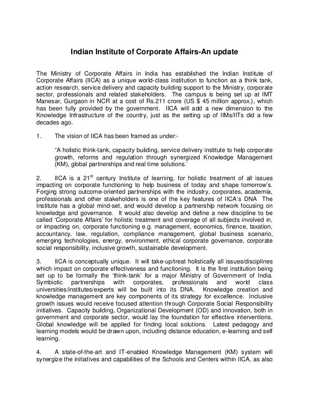 Indian Institute of Corporate Affairs-An updateThe Ministry of Corporate Affairs in India has established the Indian Insti...