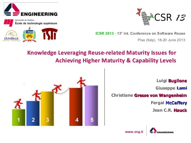 www.eng.it Knowledge Leveraging Reuse-related Maturity Issues for Achieving Higher Maturity & Capability Levels ICSR 2013 ...