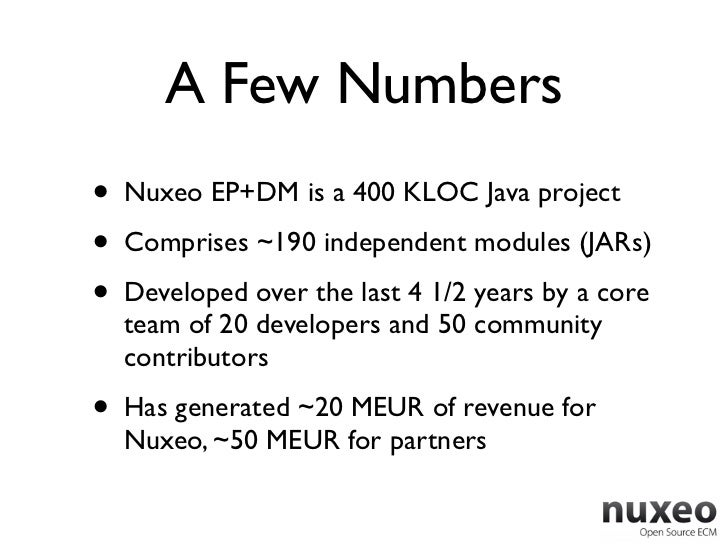 A Few Numbers•   Nuxeo EP+DM is a 400 KLOC Java project•   Comprises ~190 independent modules (JARs)•   Developed over the...