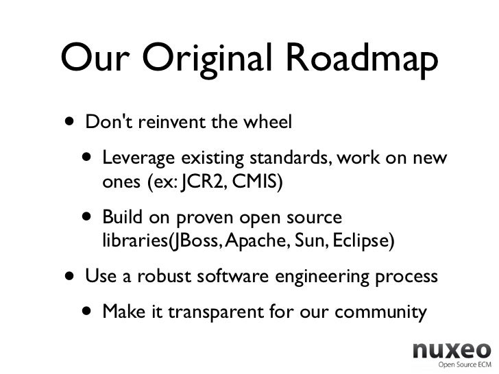 Our Original Roadmap• Dont reinvent the wheel • Leverage existing standards, work on new    ones (ex: JCR2, CMIS) • Build ...