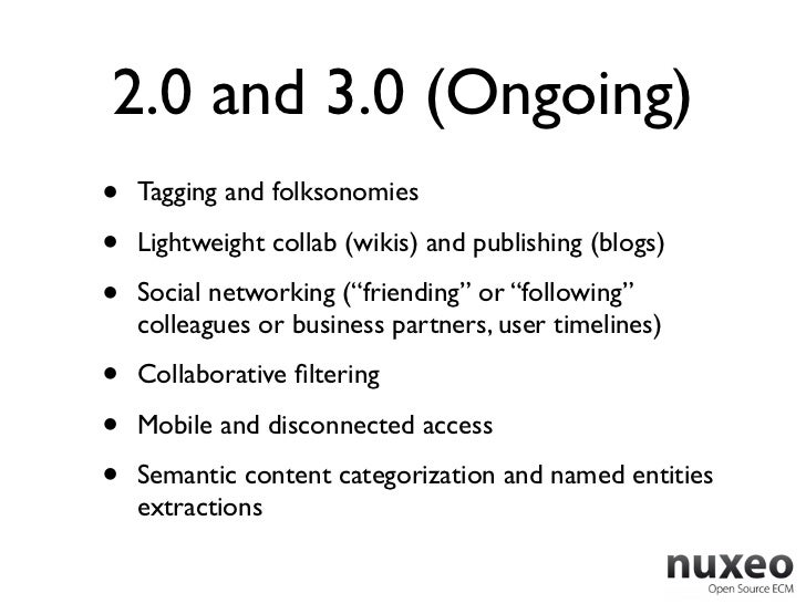 2.0 and 3.0 (Ongoing)•   Tagging and folksonomies•   Lightweight collab (wikis) and publishing (blogs)•   Social networkin...