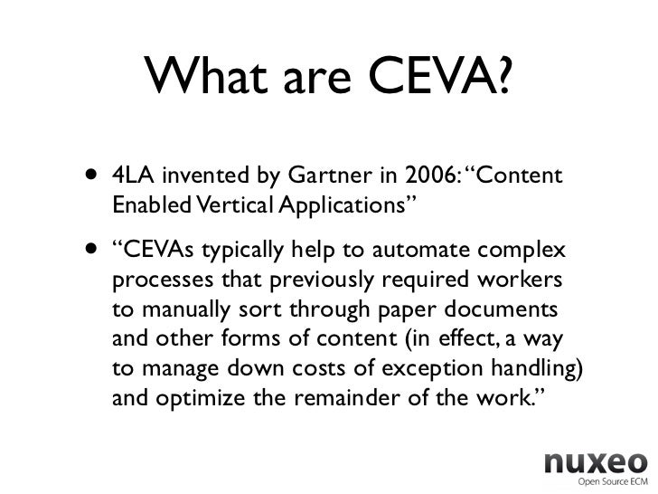 """What are CEVA?•   4LA invented by Gartner in 2006: """"Content    Enabled Vertical Applications""""•   """"CEVAs typically help to ..."""